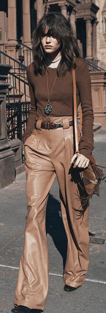 Camel Leather Wide Leg Trousers ~ Haute In Manhattan