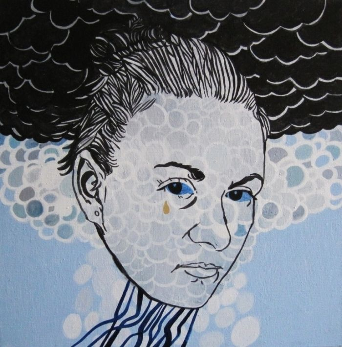"Agnieszka Sandomierz, ""2"", distemper on canvas, polish art"