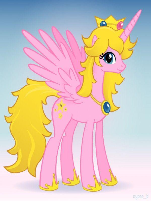 ponified mario | ... mario_bros necklace pink_body ponified pony princess_peach simple