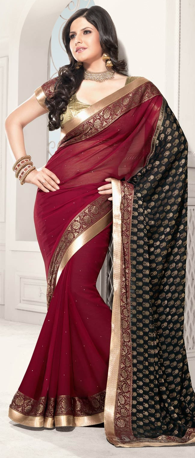 #Red and #Black Faux #Chiffon #Saree With Blouse @ $71.15 | Shop @ http://www.utsavfashion.com/store/sarees-large.aspx?icode=sme20