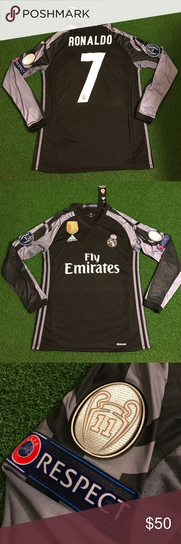 RONALDO Soccer Jersey Champions League Real Madrid New with tags. 2016/2017 long sleeve 3rd Real Madrid Soccer Jersey with RONALDO #7 on back! Has champions league patches! Futbol top - kit - uniform Shirts Tees - Long Sleeve