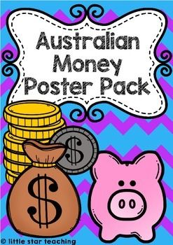 These Australian money posters are going to be a fantastic addition to your unit on Money (as required to teach in the Australian Curriculum). Print, laminate, and display in your maths learning center. This Australian Money Poster pack includes the following coins: five cents, 10 cents, 20 cents, 50 cents, 1 dollar and 2 dollars, and the following notes: five, ten, twenty, fifty and one-hundred.