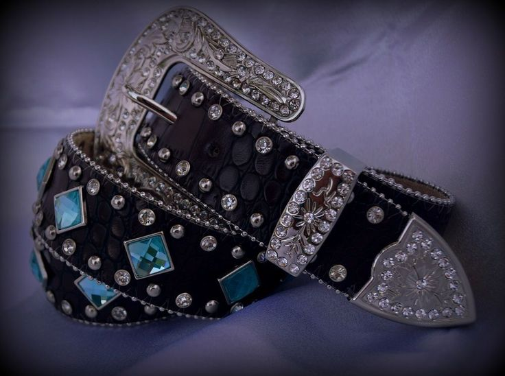 Ladies Western Brown Cowgirl Leather Belt Teal/Blue Concho S-M-L-XL & 3XL