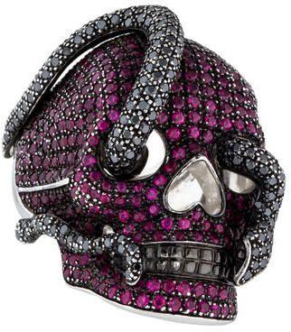 Theo Fennell 18K Ruby & Black Diamond Skull Ring