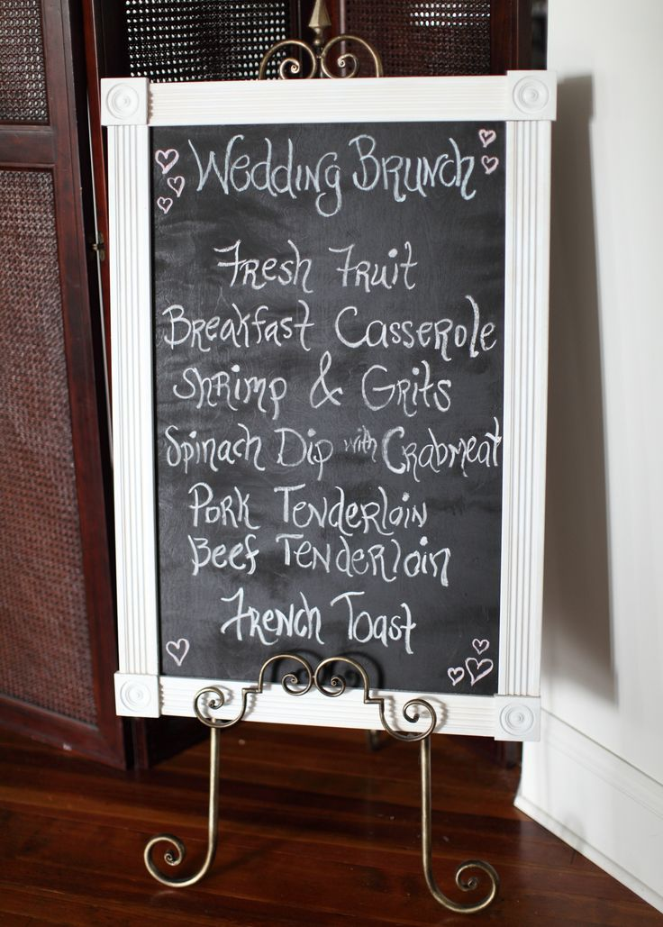 brunch menu for our morning wedding reception or lots of small mini gold frames with each item's name on it would be cute