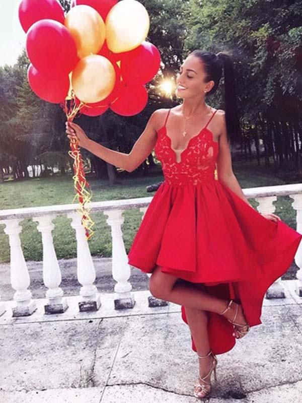 Simple Red Spaghetti Straps Lace Top High Low Homecoming Dresses