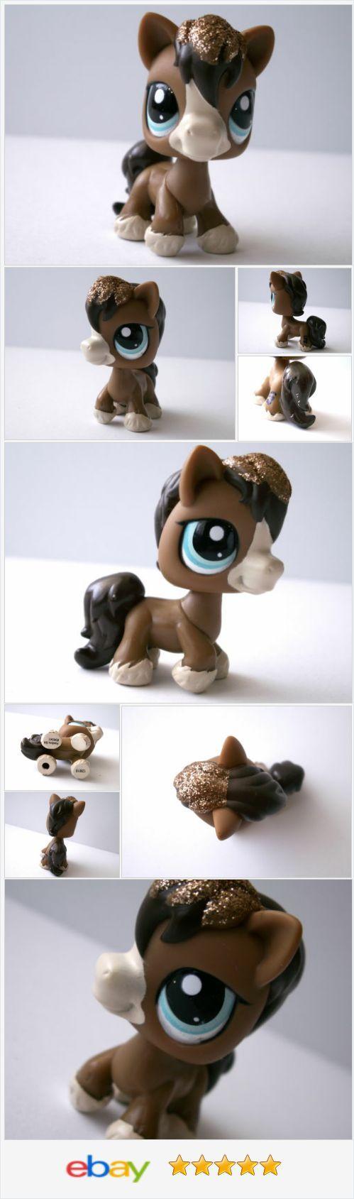 Littlest Pet Shop 2292 Sparkle Brown Tan Horse Pony Glitter LPS Toys Figure
