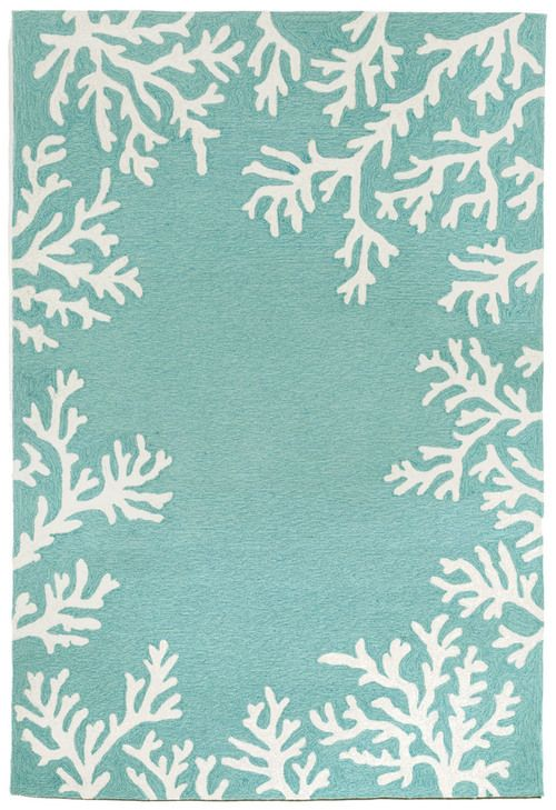 Infuse your home with seaside fresh color! Coral Bordered Aqua Area Rug