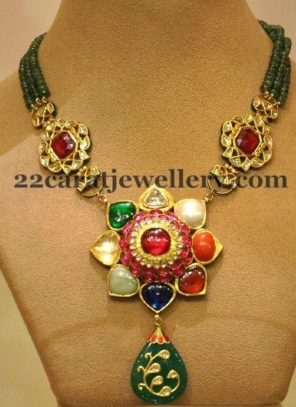 Jewellery Designs: Latest Kundan Beads Necklace
