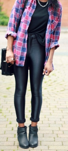 Plain tee with a patterned shirt is a perfect look - disco pants