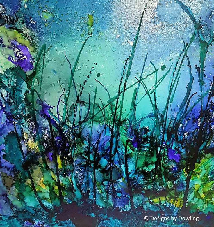 Seagrass- original alcohol ink on melamine board by DesignsByDowling on Etsy