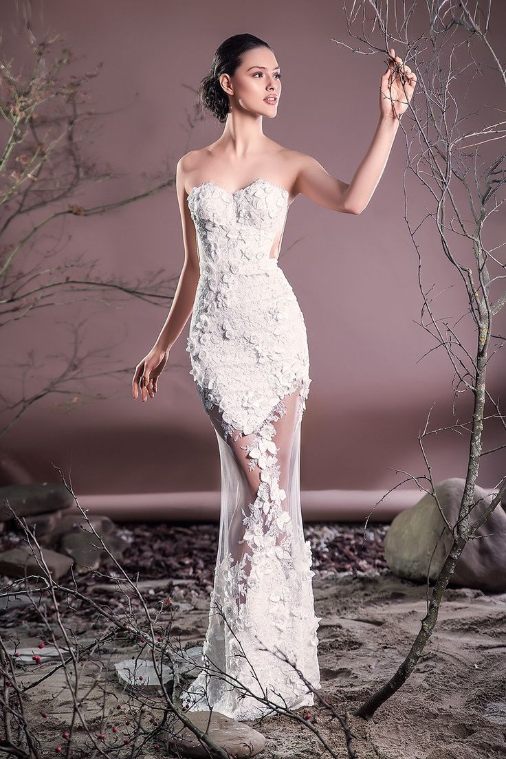 CRISTALLINI SKA631 - Mermaid wedding dresses are a must have for brides that have the desire to feel sexy and elegant on her wedding day.  Bust made of Chantilly lace, 3D laser cut floral embroidery applied manually Mermaid skirt made of tulle 100% polyamide with transparent cutouts, 3D laser cut floral embroidery applied manually, crepe lining for extra comfort Hook and fastenings zip at back Internal boned bodice and underwired push-up cups for support Dry clean For a personalised t...