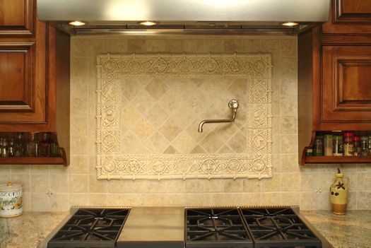 Old World Ceramic Tile Medallion Polychrome Backsplash