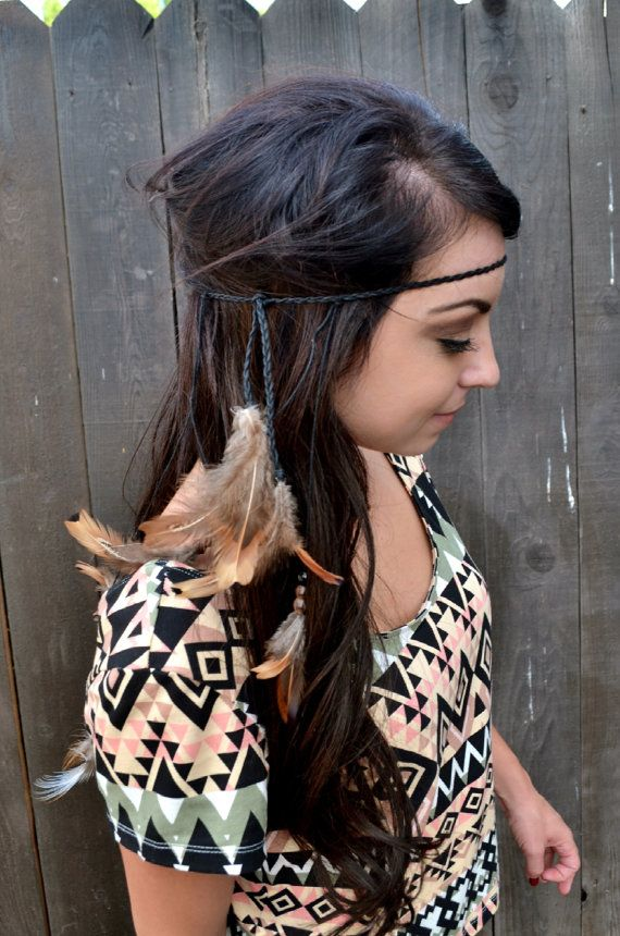 Etsy listing at https://www.etsy.com/listing/196671606/feather-headband-feather-hairpiece