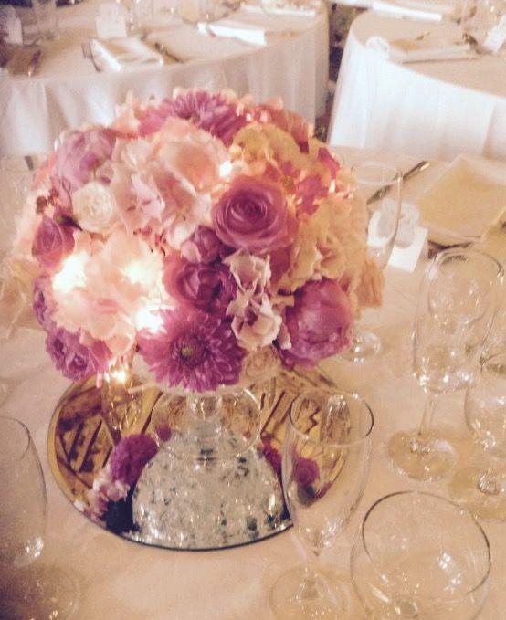 Pink Pom Pom wedding centrepiece