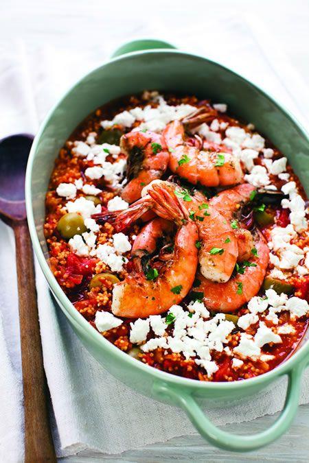 Greek Millet SaganakiMillet Saganaki, Recipe, Mediterranean Food, Shrimp, Greek Millet, Gluten Free, Greek Food, Ancient Grains, Maria Speck