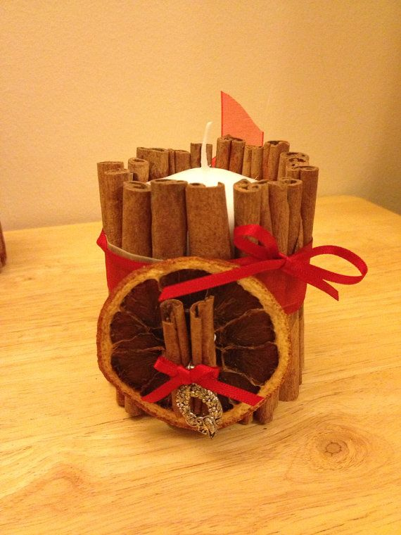 Cinnamon decorated candle on Etsy, £5.00