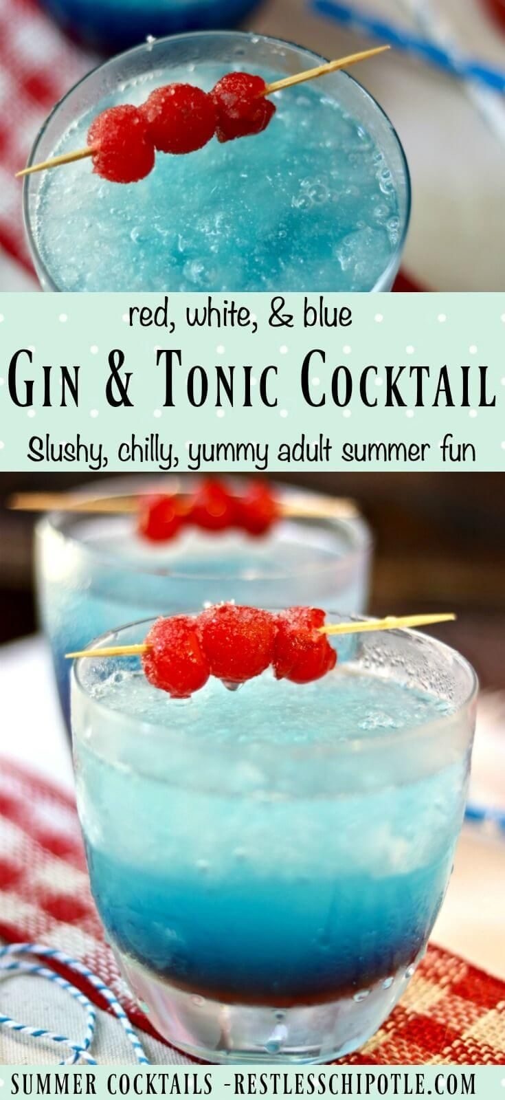 Classic gin and tonic cocktail is updated with slushy red, white, and blue stripes for summer! From RestlessChipotle.com via @Marye at Restless Chipotle