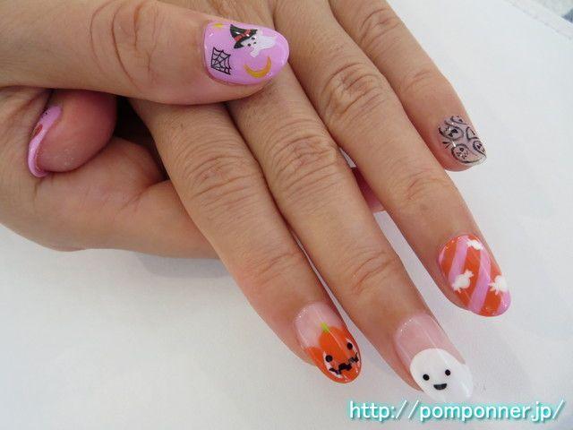 色鮮やかなハロウィンネイル halloween nail bright colors