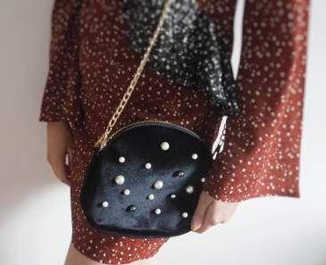 Swish My Swag nasty gal black velvet stud and pearls shoulder bag