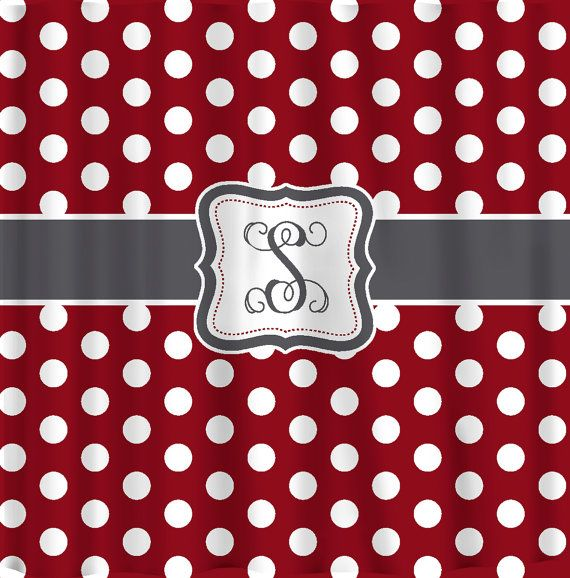 Personalized Polka Dot Shower Curtain Any Color With White Polka Dots And Your Accent Color