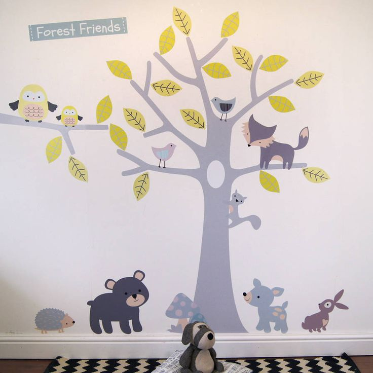 yellow and grey woodland animals and tree wall stickers by parkins interiors | notonthehighstreet.com