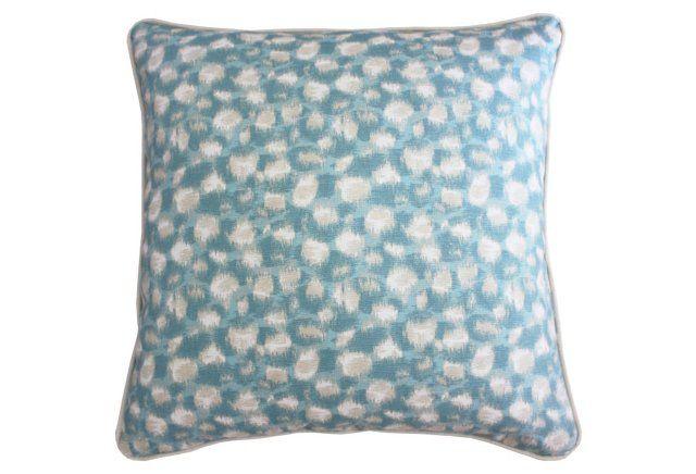 Zimba 20x20 Cotton-Blend Pillow, Aqua