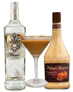 the easiest pumpkin pie martini... TWO ingredients! And now there is a fulton's apple pie. I wonder if adding caramel vodka would make it taste like caramel apples?!? But it is a little thick. Might need to cut it with whipped cream or milk like a white russian.