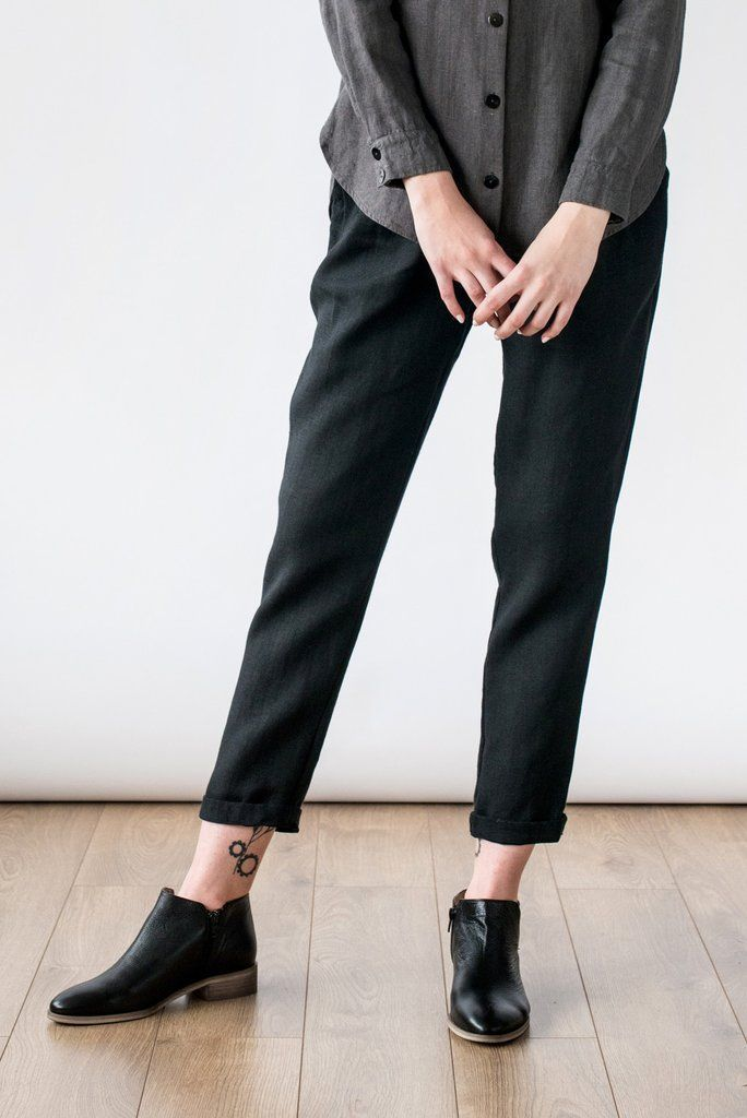 Black linen pants  - Lithuanian linen is used for its low-impact production and characterful imperfections. Garments defined by modern strokes and organic silhouettes are constructed entirely by hand by tailors paid fairly. This appreciation for local resources and historic processes, combined with a focus on quality, ethics and wearability.