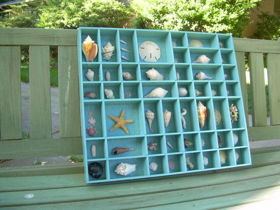 Shell Collection in a Turquoise Printer's Type Tray by CrowFinds, $45.00