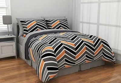 Zig Zag Neon Bed-in-a-Bag Bedding Set Chevron Orange Gray Grey Black Trendy
