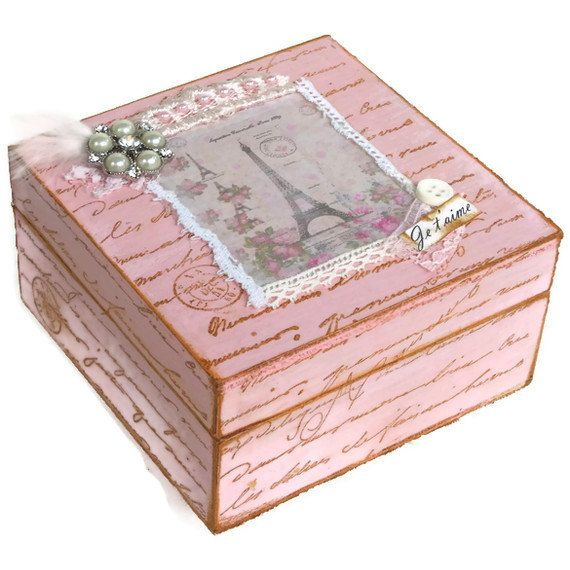 Keepsake Box Pink Shabby Chic Jewelry Box by BlissfulBoxes on Etsy, $35.00