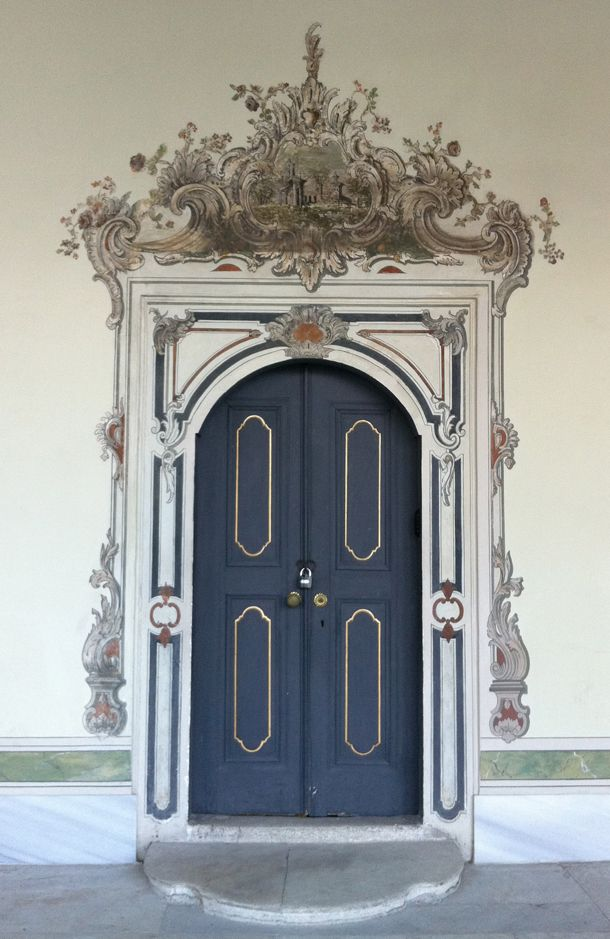 //This door is at the Topkapi Palace in Istanbul and while the door is rather simple, the molding surrounding the door is a gorgeously painted trompe l'oeil.