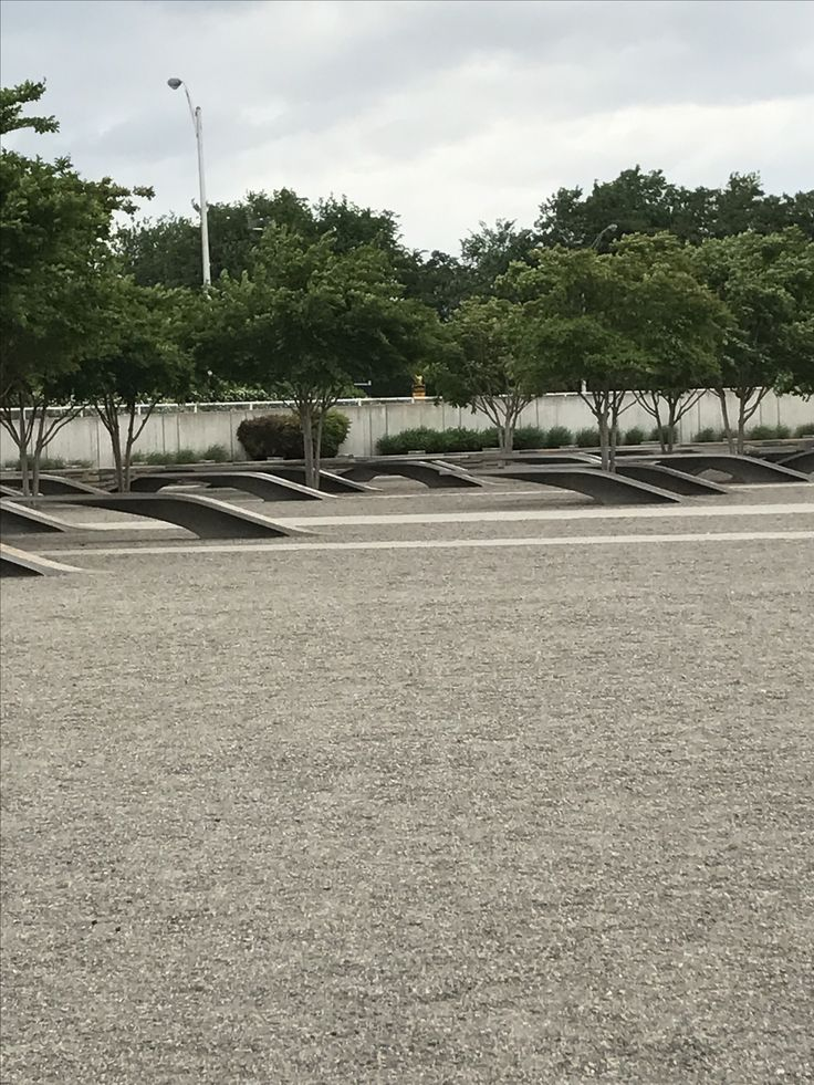9/11 Memorial.  Benches that point at the Pentagon were people who died on the plane. Benches pointed away are the ones that died at the Ppentagon.