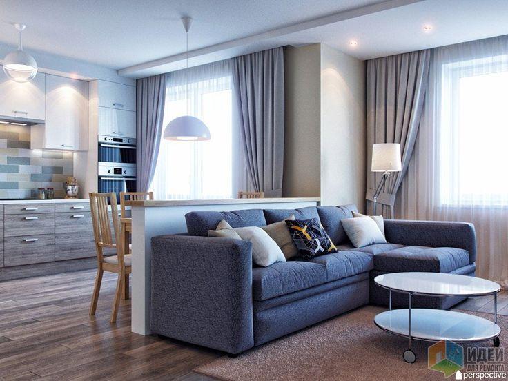 Интерьер кухни-гостиной, диван в гостиной, кухня и гостиная зонирование