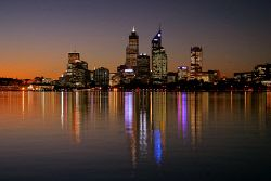 TWA-0003115 © WestPix Sunset from South Perth foreshore. Perth city skyline.