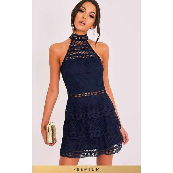 Raine Navy Premium Lace Panel Tiered Mini Dress ❤ liked on Polyvore featuring dresses, short blue dresses, navy mini dress, lace inset dress, navy blue mini dress and blue dress