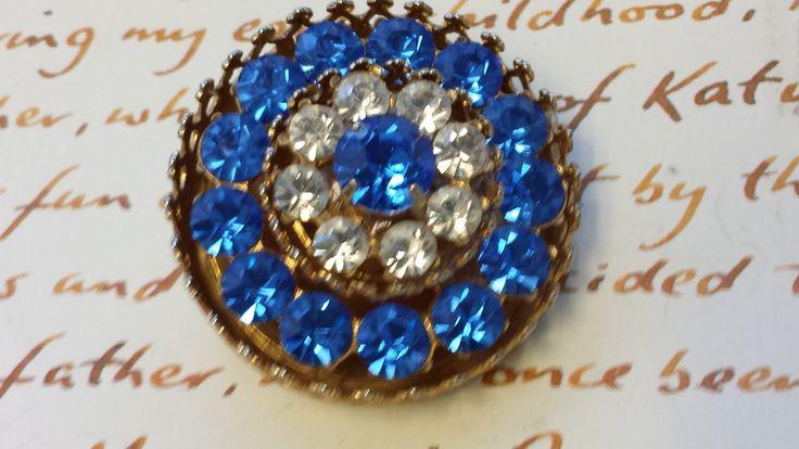 Signed CORO BROOCH~Blue & White Rhinestones~Mid Century Brooch~Sparkly Vtg Coat Scarf pin~Bridal Bouquet~Wedding Jewelry~JewelsandMetals by JewelsandMetals on Etsy https://www.etsy.com/listing/209873932/signed-coro-broochblue-white