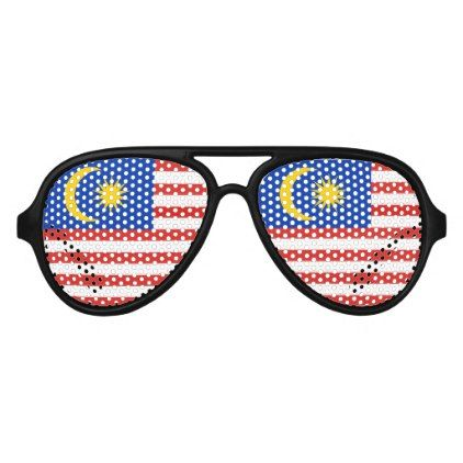 Flag of Malaysia Jalur Gemilang Aviator Sunglasses - unusual diy cyo customize special gift
