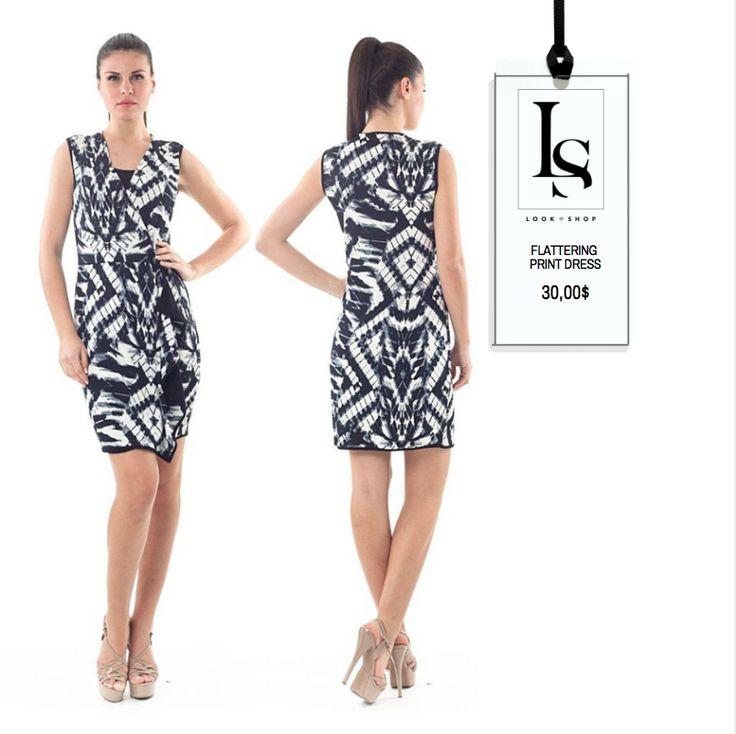 Super Flattering Print Dress with faux wrap Only 30$!!  #printdress #waistline #flattering #fashion  Shop Here: https://goo.gl/77H6mA