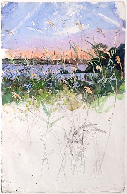 Marsh with Industrial Landscape - La Palissade | John Wolseley via roslyn oxley9 gallery