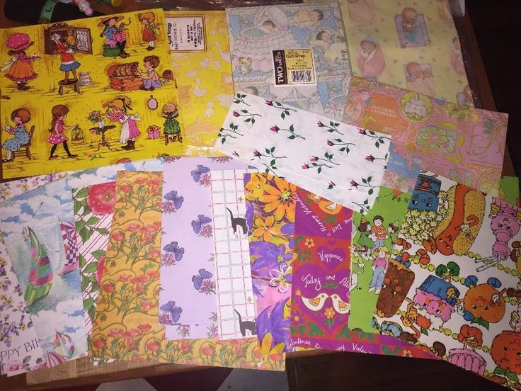 Sweet Lot Vintage Mid Century Baby Gift Wrap Paper Dolls Cats Flowers 21 Sheets | eBay