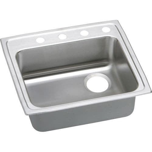 Elkay LRADQ252140R Gourmet 25 Single Basin Drop In Stainless Steel Kitchen Sink (2 faucet holes (middle right)) 2 faucet holes (middle right)