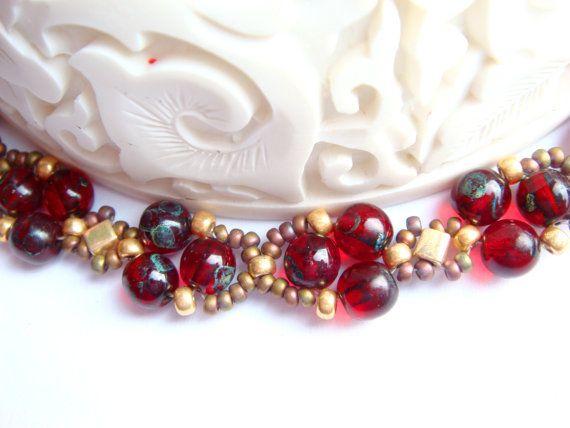 Beaded jewelry set Cranberry by Vasilisinsunduk on Etsy