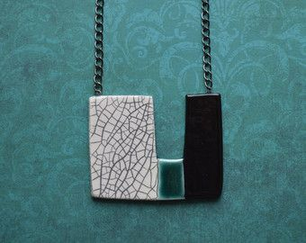 Long black and white ceramic necklace ceramic jewelry by islaclay