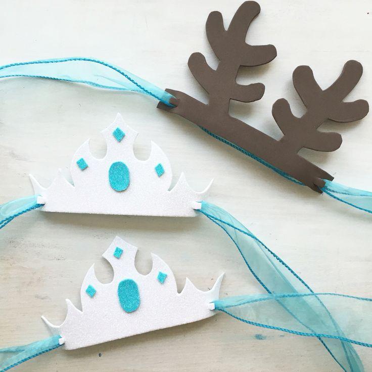Queen Elsa Crown. Sven Reindeer ears. Frozen birthday party ideas.                                                                                                                                                                                 Más