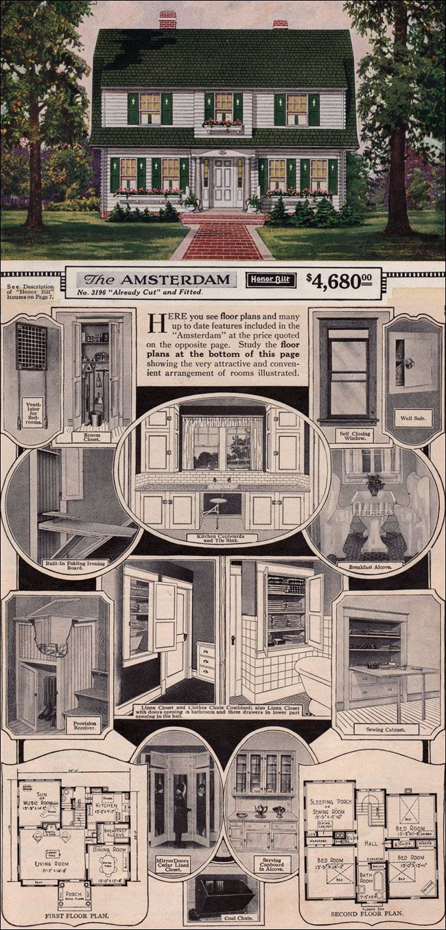 I have always loved Dutch Colonial homes....and this 1923 Sears Catalog home is a classic! I love all of the built-ins like the sewing cabinet, the provisions receiver, the mirrored wardrobe, the serving cupboard and, if I'm not mistaken, that looks like a built-in, fold-away stool under the sink for doing dishes! All that and a sleeping porch? Yes, please!! :-)