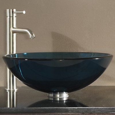 World Menagerie Lammers Tempered Glass Circular Vessel Bathroom Sink with Overflow Sink Color: Blue