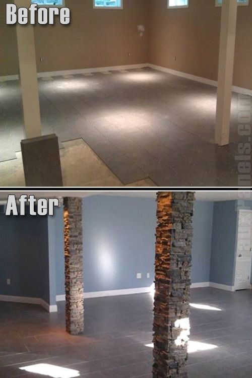 Check out ** fake stone columns in basement, earlier than and after...