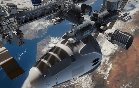 Render image of SpaceX's Mars Colonial Transporter concept next to the International Space Station by Nathan Koga.